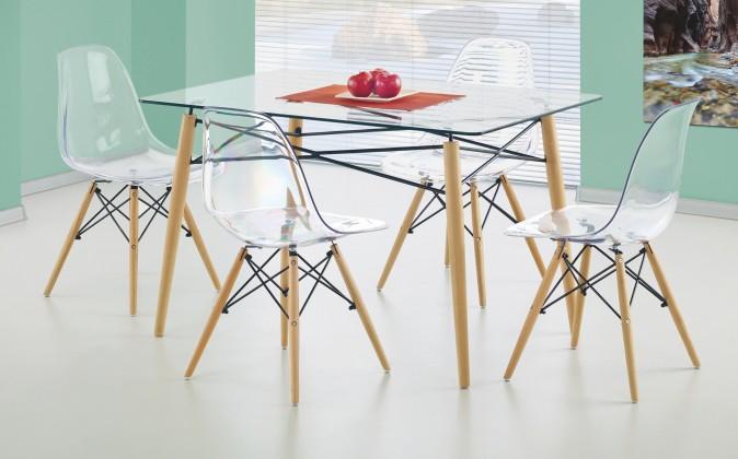 Jídelní stůl Dominos (sklo - transparentní / buk)