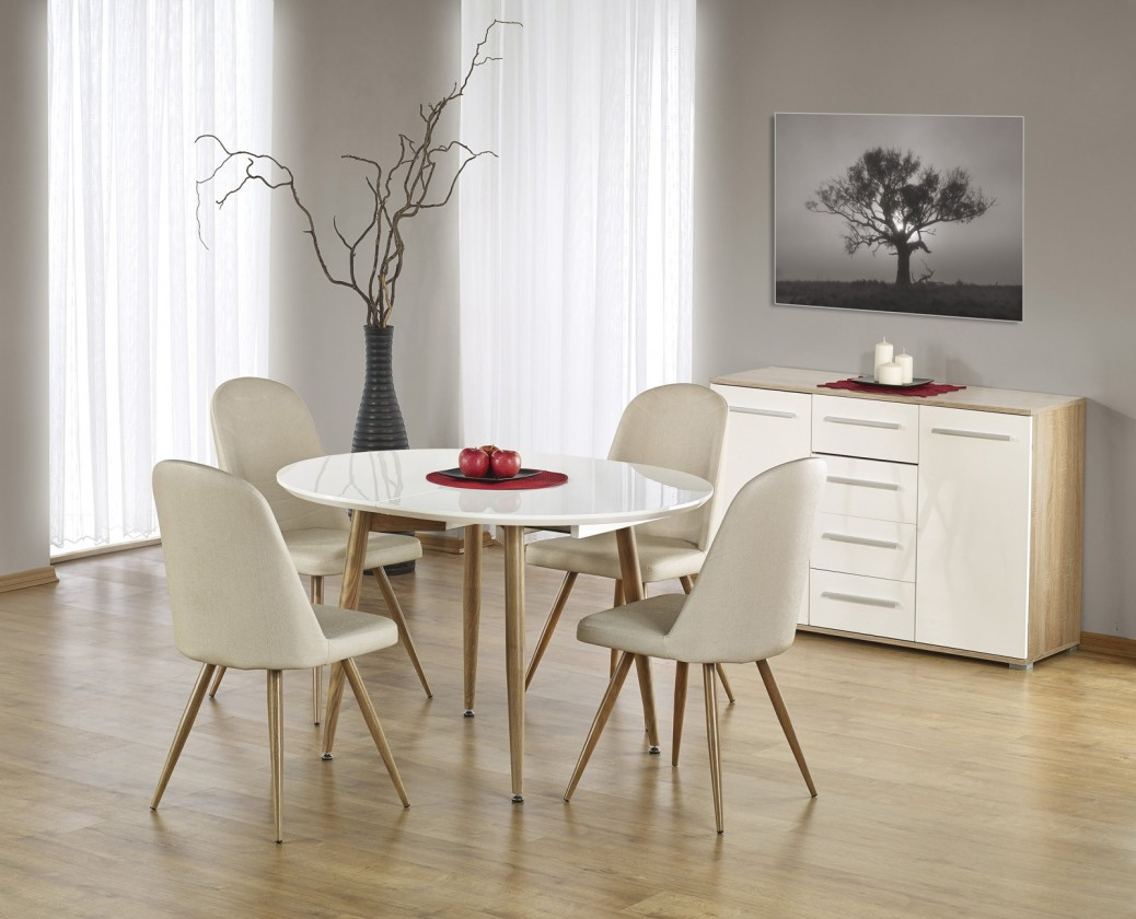 Jídelní stůl Edward - Jídelní stůl 120-200x100 cm (bílý lak, dub medový)