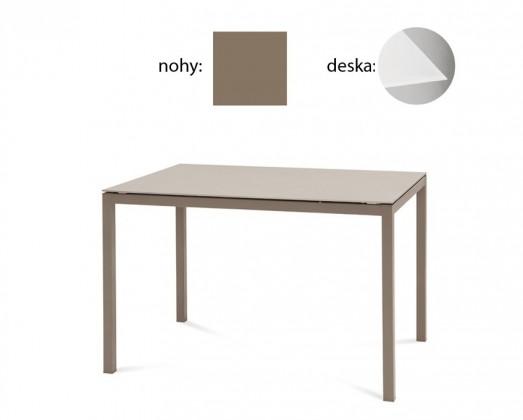 Jídelní stůl Full - Jídelní stůl (lak taupe matný, extra bílé sklo)