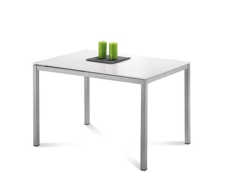 Jídelní stůl Full - Jídelní stůl (saténový hliník, extra bílé sklo)