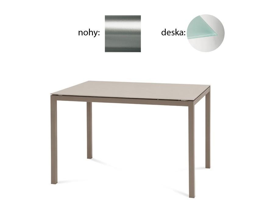 Jídelní stůl Full - Jídelní stůl (saténový hliník, tištěné sklo)