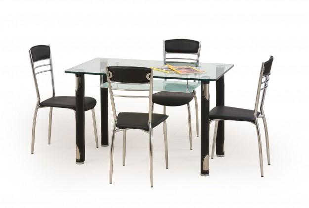 Jídelní stůl Gotard (sklo - transparentní / černá,ocel)