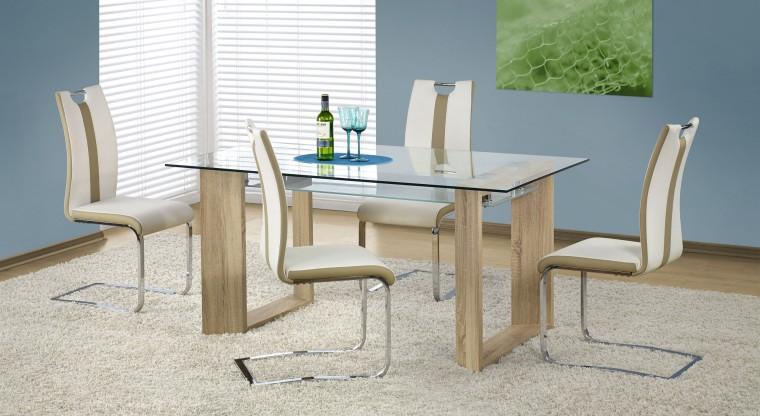Jídelní stůl Herbert (sklo - transparentní/dub sonoma)