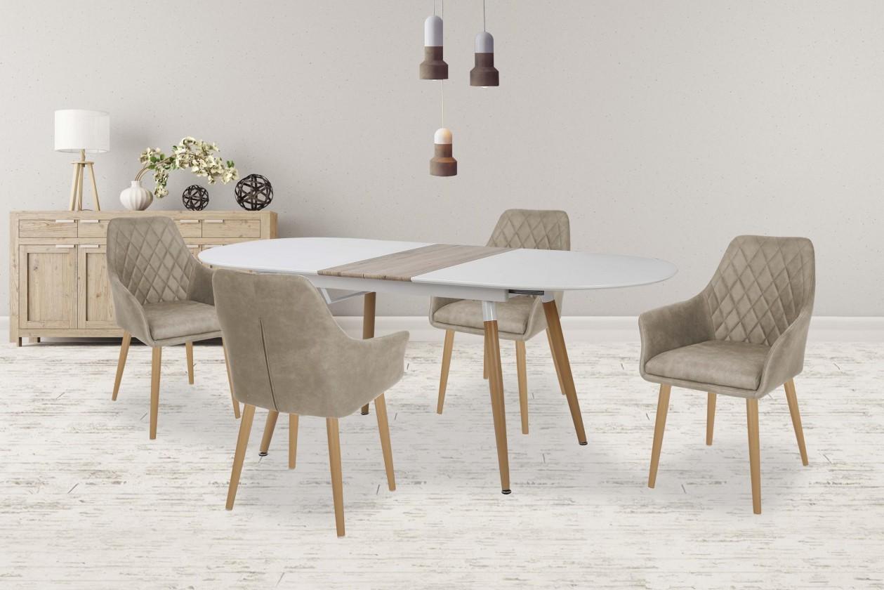Jídelní stůl Jídelní stůl Caliber - rozkládací 160/200 (bílá mat/dub san remo)