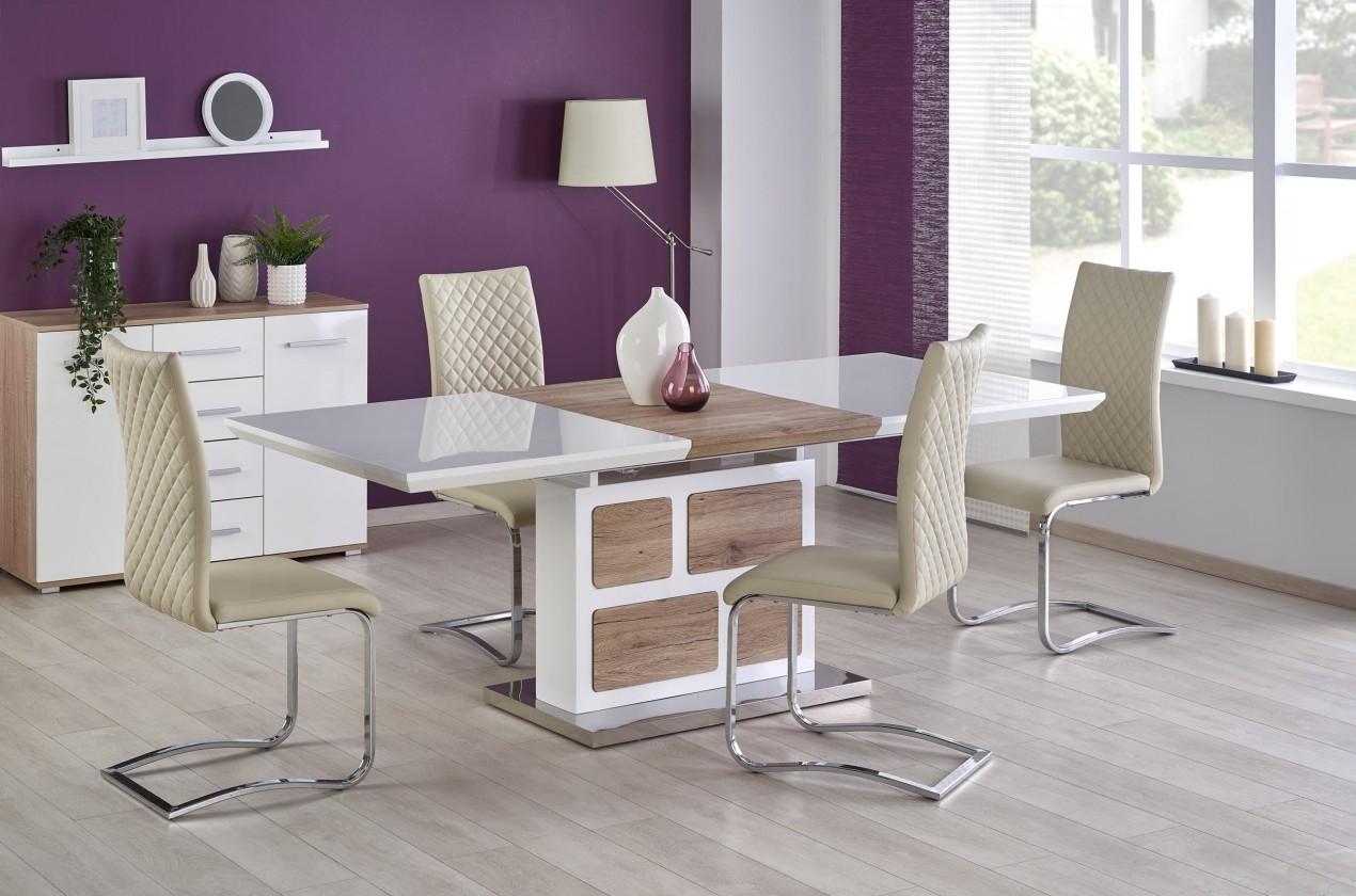 Jídelní stůl Jídelní stůl Domus - rozkládací (bílá/dub san remo)