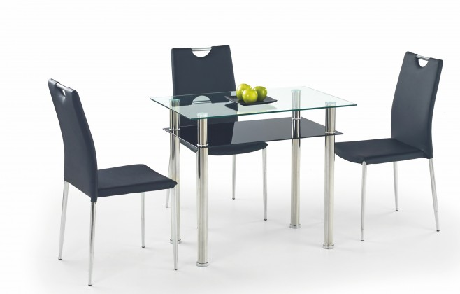 Jídelní stůl Lester-90 (sklo - transparentní / sklo - černá / nerez)