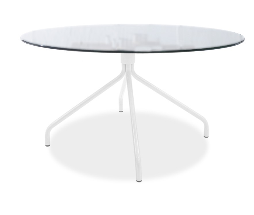 Jídelní stůl LOLA 9307-090+EGO 9319-801 (čiré sklo,bílá)