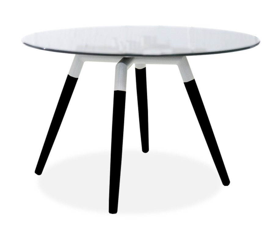Jídelní stůl LOLA 9307-090+FIDO 9315-424 (čiré sklo,bílá,černá)