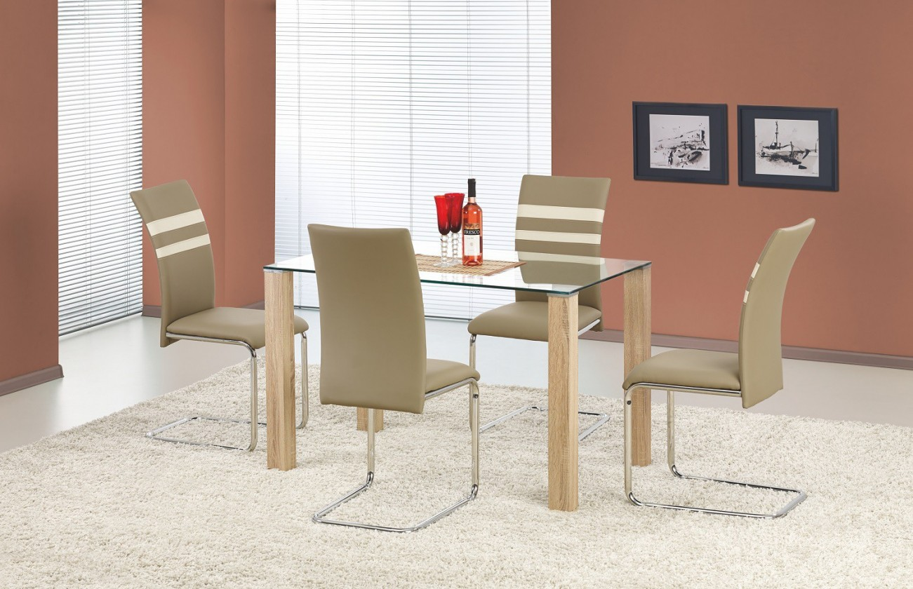 Jídelní stůl Maxwel - jídelní stůl (sklo - transparentní/dub sonoma)