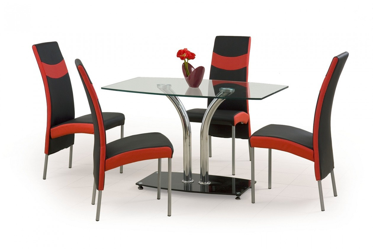 Jídelní stůl Pablo 2  - jídelní stůl (sklo - transparentní/ocel)
