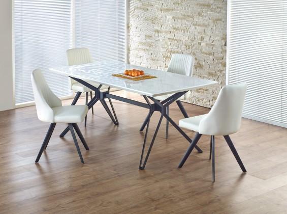 Jídelní stůl Pascal - Jídelní stůl 160x90 cm (bílý lak, černá ocel)