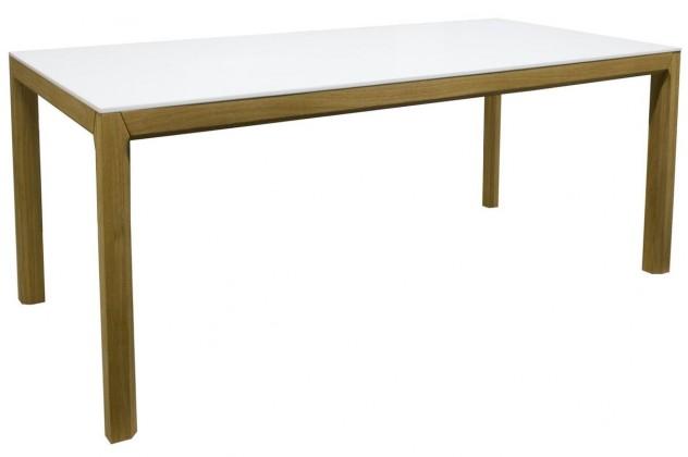 Jídelní stůl Patch (dub masiv, bílé MDF)