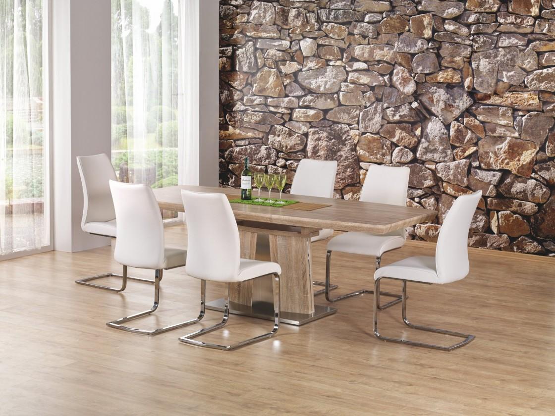 Jídelní stůl Rafaello - Jídelní stůl 160-220x90 cm (dub sonoma, stříbrná)