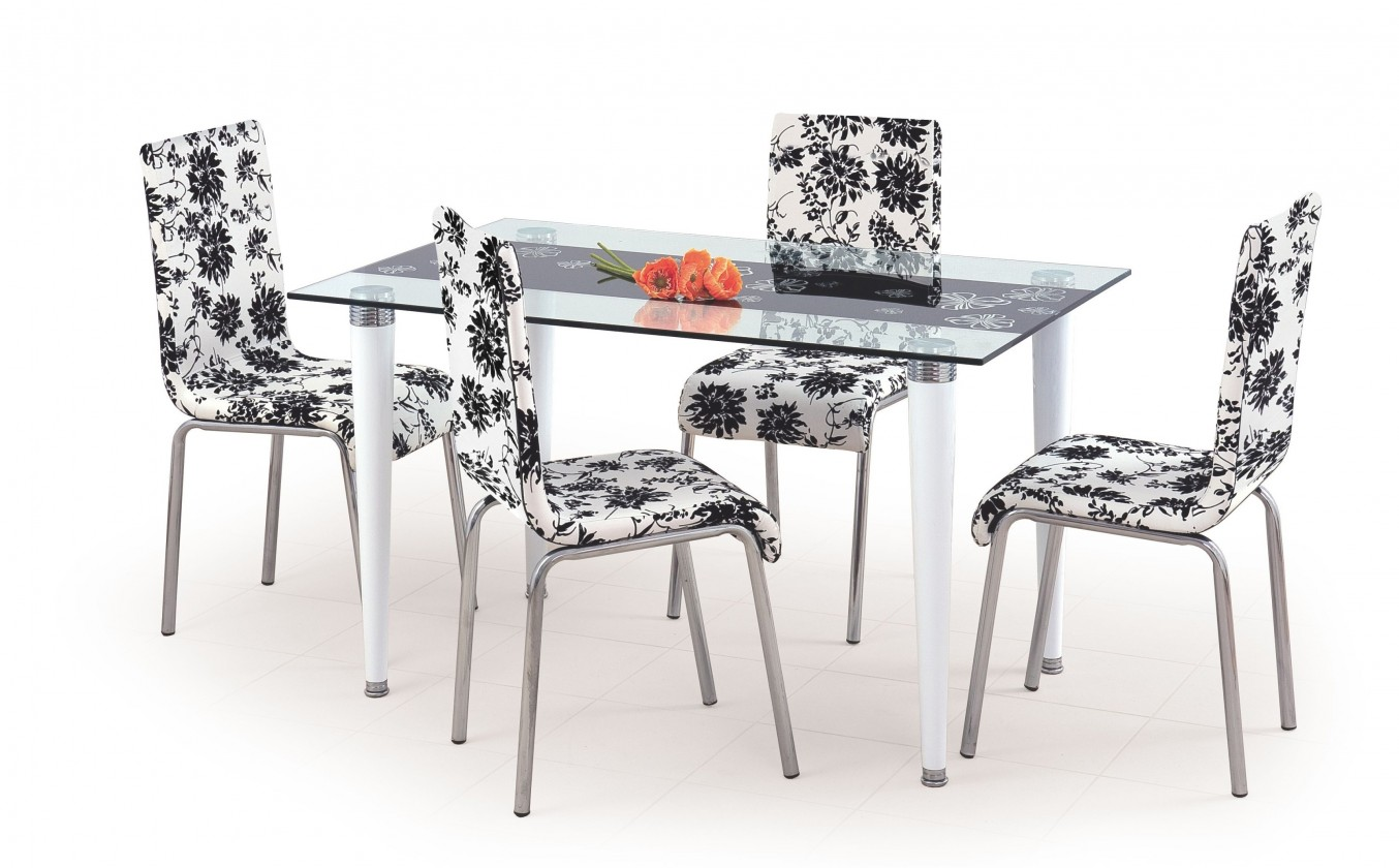 Jídelní stůl Salwador (sklo - transparentní s černým pásem / bílá)