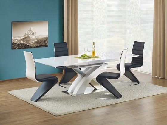 Jídelní stůl Sandor  (bílá,nerez)