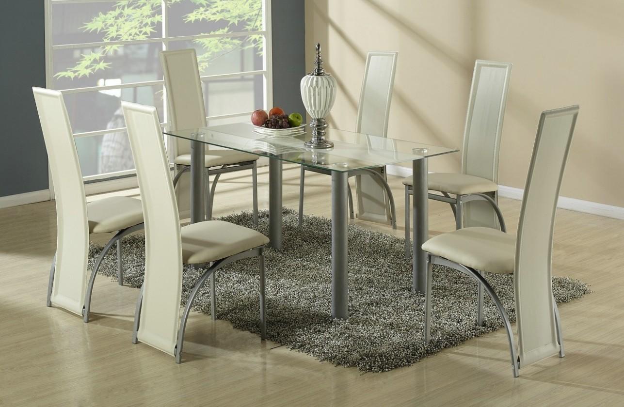 Jídelní stůl Talon (bezbarvý s béžovým pásem)