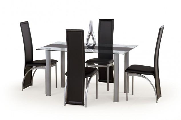 Jídelní stůl Talon (bezbarvý s černým pásem)