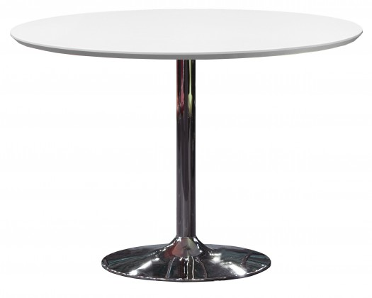 Jídelní stůl Tequila - 110/74,5/110 (chromovaná ocel, lakované bílé MDF)