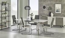 Jídelní stůl Thomas - 160-200x90x75 cm (bílá/beton)