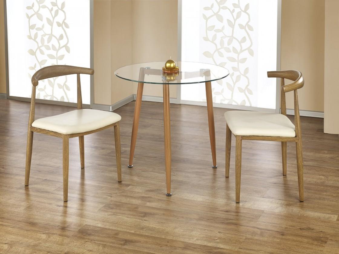 Jídelní stůl Ulster - Jídelní stůl kulatý 80 cm (olše, čiré sklo)