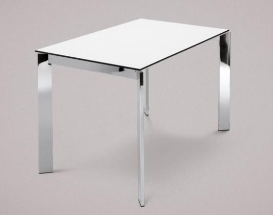 Jídelní stůl Universe-110 - Jídelní stůl (chrom, lamino bílé)