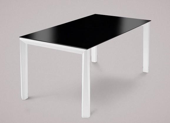 Jídelní stůl Universe-130 - Jídelní stůl (bílá mat struk., lak. sklo černé)