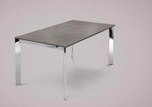 Jídelní stůl Universe-130 - Jídelní stůl (chrom, lamino kámen šedobéžový)