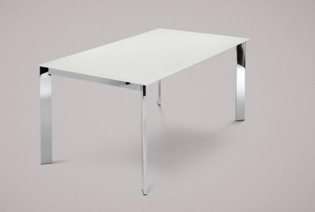 Jídelní stůl Universe-130 - Jídelní stůl (chrom, leptané sklo bílé)
