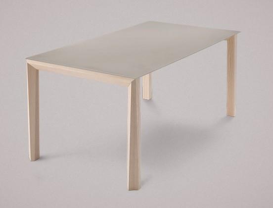 Jídelní stůl Universe-130 - Jídelní stůl (jasan, leptané sklo šedé)