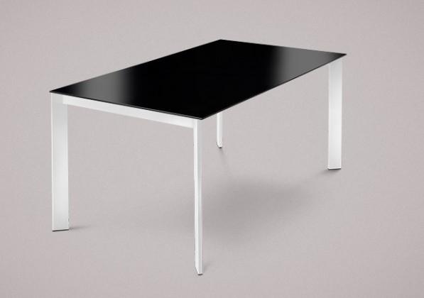 Jídelní stůl Universe-130 - Jídelní stůl (lak bílý, lak. sklo černé)