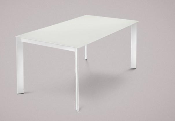 Jídelní stůl Universe-130 - Jídelní stůl (lak bílý, leptané sklo bílé)