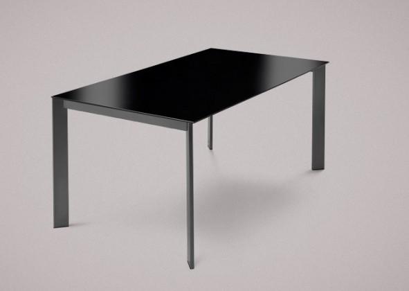 Jídelní stůl Universe-130 - Jídelní stůl (lak mat antracit, lak. sklo černé)