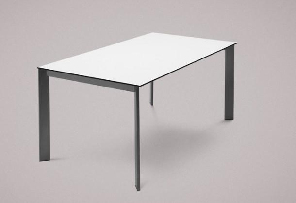 Jídelní stůl Universe-130 - Jídelní stůl (lak mat antracit, lamino bílé)