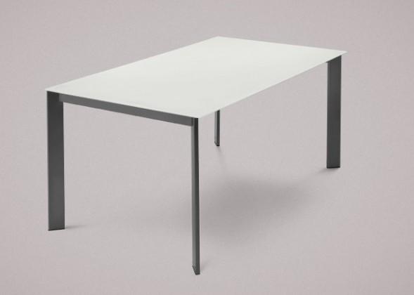 Jídelní stůl Universe-130 - Jídelní stůl (lak mat antracit, sklo bílé)