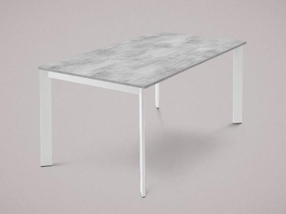Jídelní stůl Universe-130 - Jídelní stůl (lak mat bílý, lamino cement)