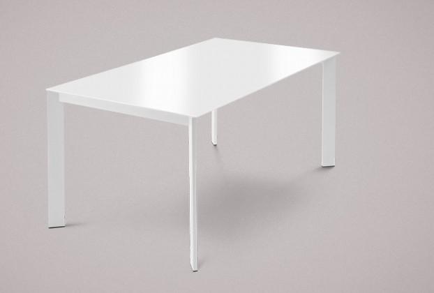 Jídelní stůl Universe-130 - Jídelní stůl (lak mat bílý, sklo extra bílé)