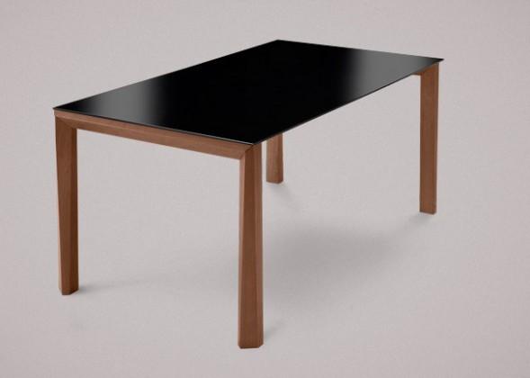 Jídelní stůl Universe-130 - Jídelní stůl (ořech, lak. sklo černé)