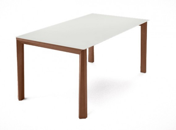 Jídelní stůl Universe-130 - Jídelní stůl (ořech, leptané sklo bílé)