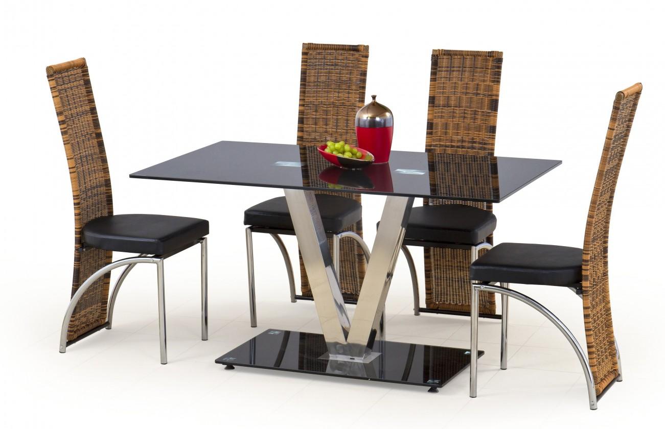 Jídelní stůl Velvet (sklo - černá / nerez)