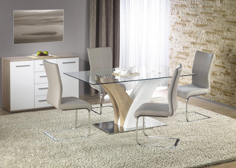 Jídelní stůl Vilmer - .Jídelní stůl, 160x90 cm (bílá, dub sonoma, čiré sklo)