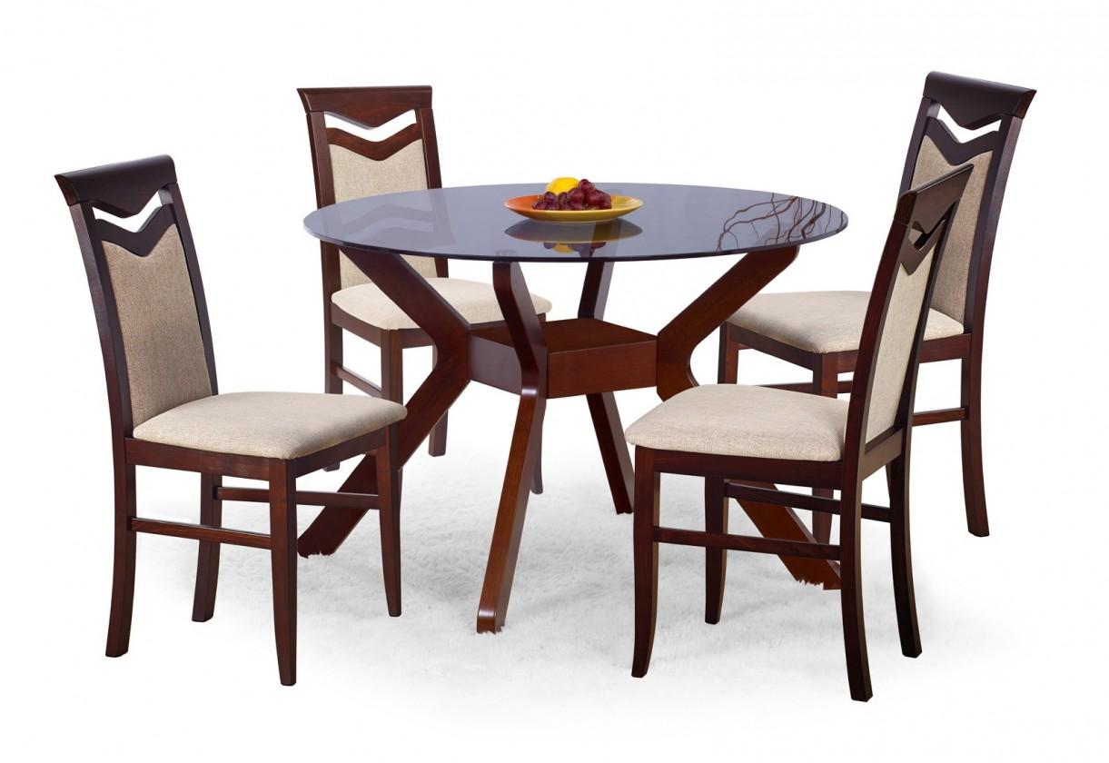 Jídelní stůl Vincent - Jídelní stůl 106 cm (tmavý ořech, tmavé sklo)