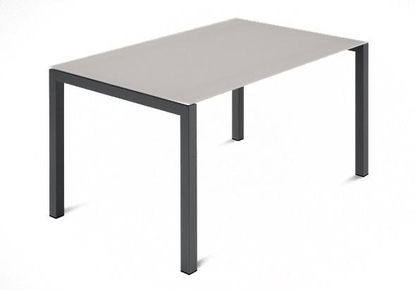 Jídelní stůl Web - 120 cm (kostra ocel antracit/deska leptané sklo šedé)