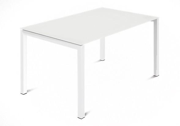 Jídelní stůl Web - 120 cm (kostra ocel bílá/deska leptané sklo bílé)