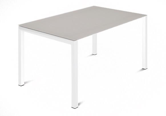 Jídelní stůl Web - 120 cm (kostra ocel bílá/deska leptané sklo šedé)