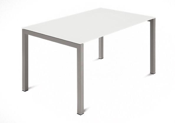 Jídelní stůl Web - 120 cm (kostra ocel písková/deska leptané sklo bílé)