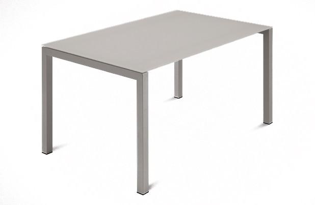 Jídelní stůl Web - 120 cm (kostra ocel písková/deska leptané sklo šedé)