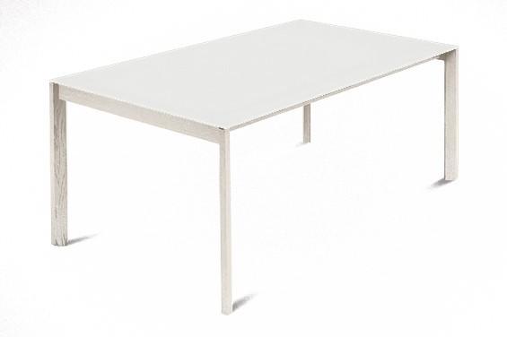 Jídelní stůl Web - 140 cm (kostra masiv jasan/deska leptané sklo bílé)
