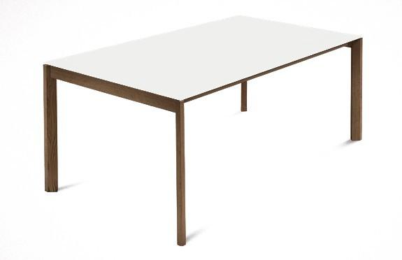 Jídelní stůl Web - 140 cm (kostra masiv ořech/deska leptané sklo bílé)