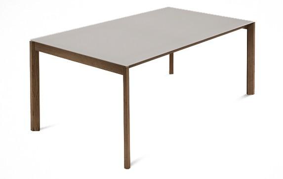 Jídelní stůl Web - 140 cm (kostra masiv ořech/deska leptané sklo šedé)