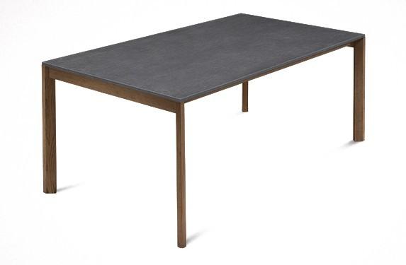 Jídelní stůl Web - 140 cm (kostra masiv ořech/deska melamin textura šedá)
